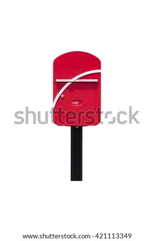 postbox isolated on white background - stock photo