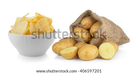 potato chips and potato in the sack isolated on white background - stock photo