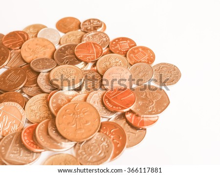 Pound coins  currency of the United Kingdom vintage - stock photo