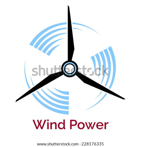 power making company logo with wind turbine isolated on white - stock photo