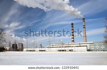 power plant during the winter period of time. Snow. Belarus - stock photo