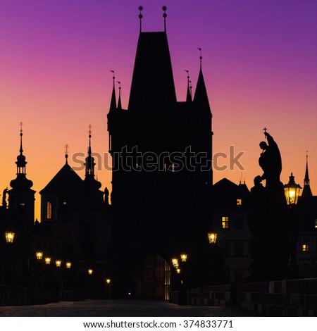 Prague, Charles Bridge at dawn; Czech Republic - stock photo