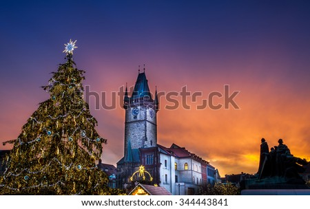 Prague Christmas market on Old Town Square, Czech Republic - stock photo