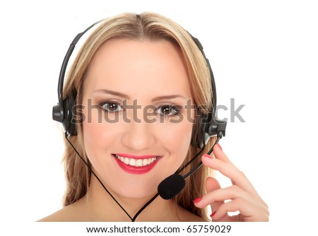 Pretty caucasian woman with headset smiling during a telephone conversation. Isolated over a white background.