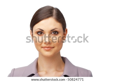 Pretty young business woman  looking at you on white background - stock photo