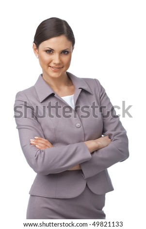 Pretty young business woman with hands folded looking at you on white background - stock photo