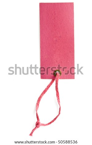 Price tag or address label with pink string - stock photo