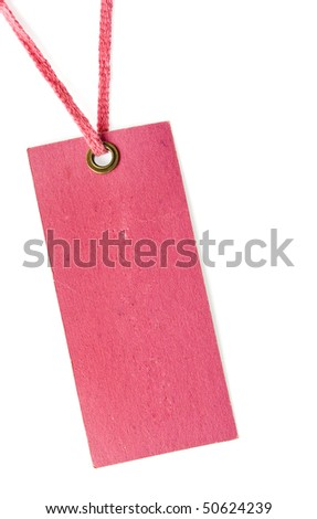 Price tag or address label with pink string close up isolated on white background - stock photo