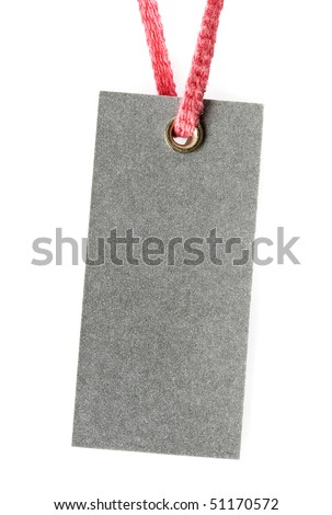 Price tag or address label with pink string isolated - stock photo