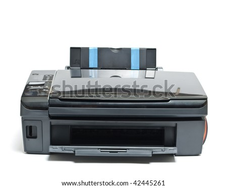 Printer isolated on white - stock photo