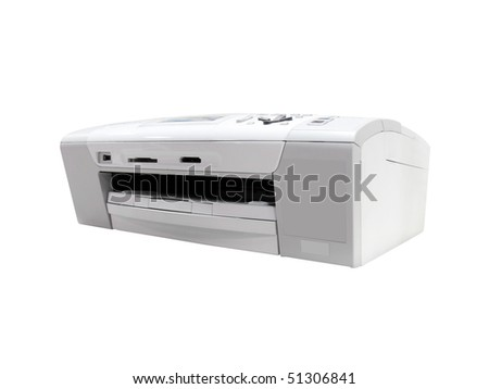 printer under the white background. Focus is under the front corner of printer - stock photo