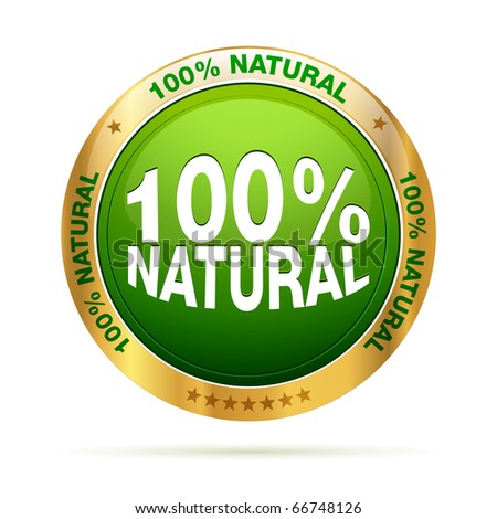 100 procent natural badge | isolated label illustration - stock photo