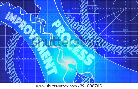 Process Improvement on the Mechanism of Gears. Blueprint Style. Technical Design. 3d illustration, Lens Flare. - stock photo