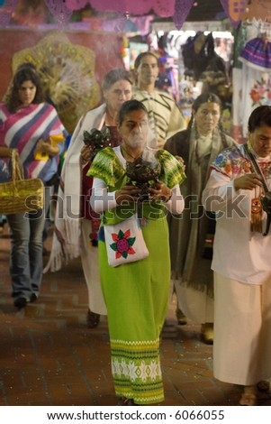 11-1-06 Procession of the Day of the Dead / Dia de los Muertos at Olvera Street in Los Angeles, CA - stock photo