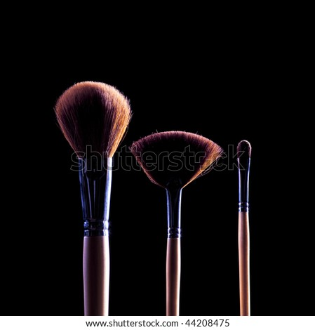 professional cosmetic brushes - stock photo