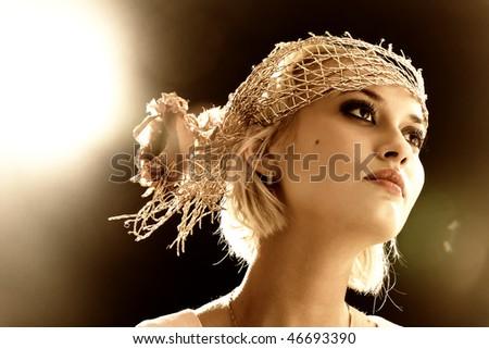 . Professional make-up, lens flares - stock photo