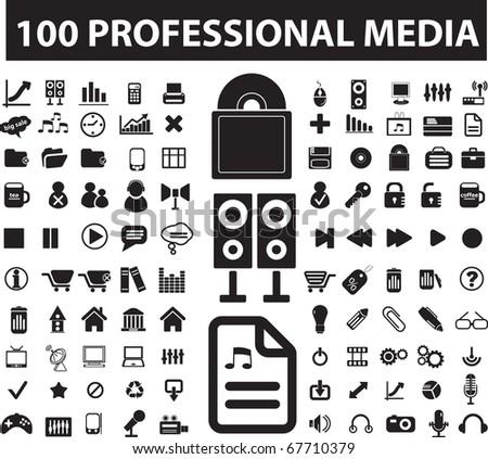 100 professional media signs. raster version - stock photo