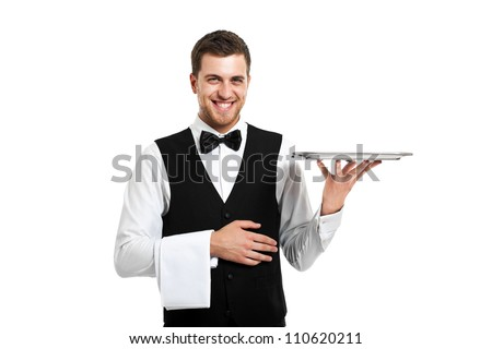 Professional waiter holding an empty dish. Isolated on white - stock photo