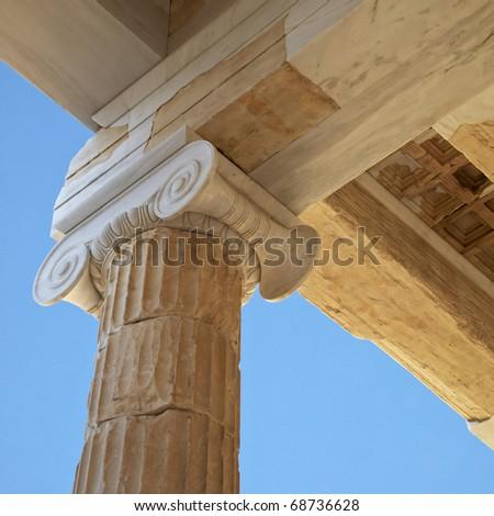 Propilea  entrance to Acropolis detail, Athens Greece - stock photo