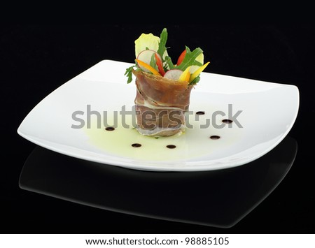 Prosciutto with vegetables salad