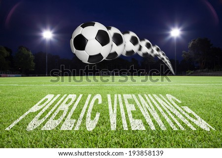 """""""public viewing"""" text on soccer field - stock photo"""