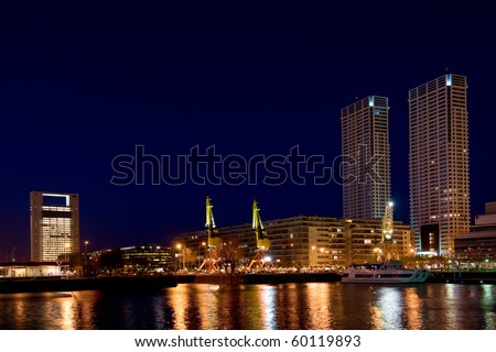 Puerto Madero neighbourhood at Night, Skyline, Buenos Aires, Argentina. - stock photo