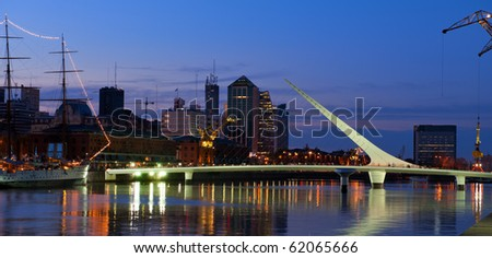 Puerto Madero neighbourhood at Night, view, Buenos Aires, Argentina. - stock photo