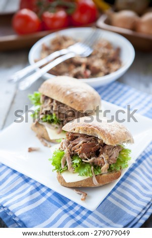 pulled pork filled roll - stock photo