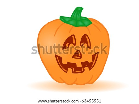 pumpkin by a holiday halloween on a white background