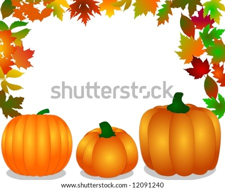 3 pumpkins on a white background