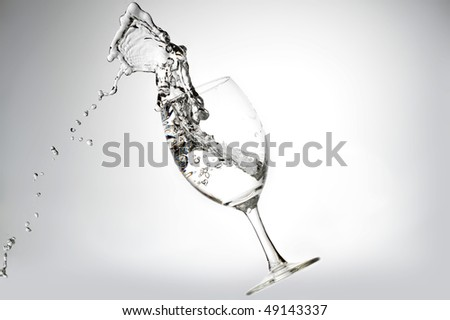 pure water splashing  into glass