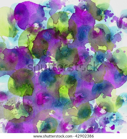 purple and green        abstract watercolor background - stock photo