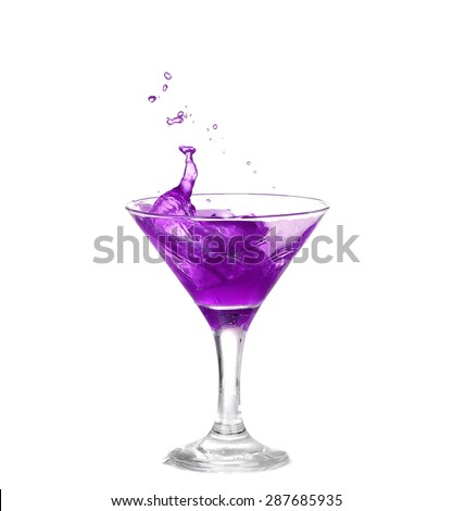purple cocktail with splash isolated on white background