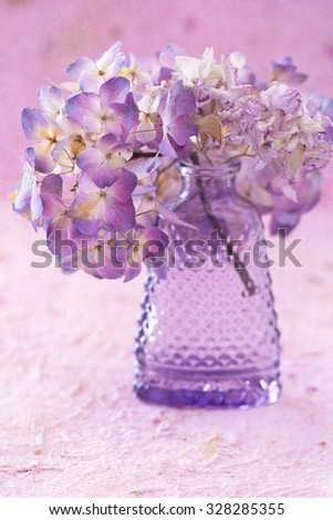 purple dried hydrangea flowers in a vase on a table . grunge paper background.  - stock photo