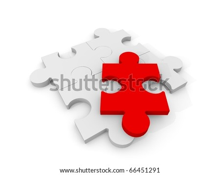 4 Puzzle pieces with a red piece on top