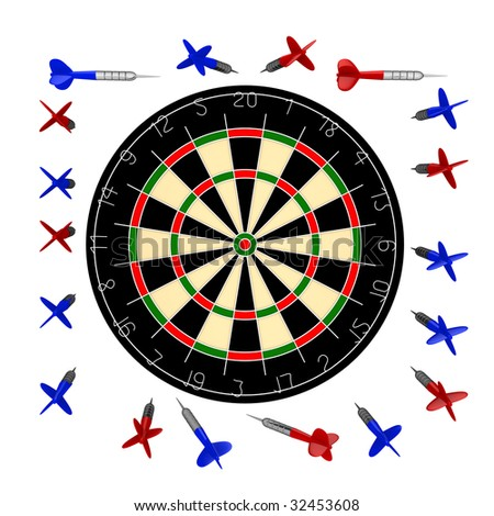 10000px dartboard+darts blank for design variations - stock photo