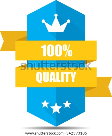 100% Quality Blue Shield With Yellow Ribbon Label, Sticker, Tag, Sign And Icon Banner Business Concept, Design Modern With Crown.  - stock photo