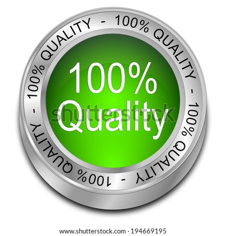 100% Quality button - stock photo