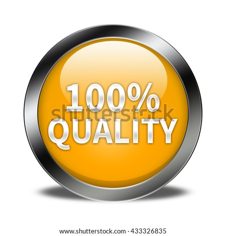100% quality button isolated