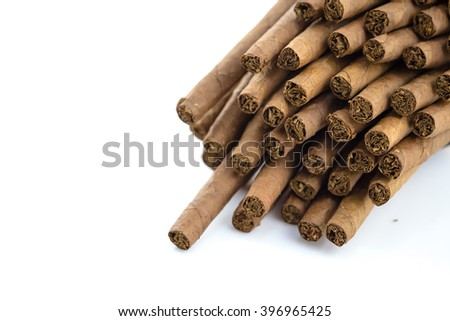 Quality cigars and tobacco leaves on white background, Handmade cigar, Thailand - stock photo