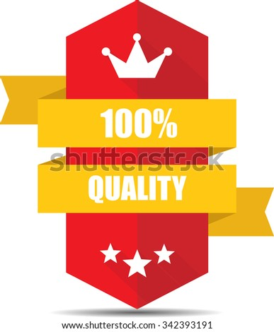 100% Quality Red Shield With Yellow Ribbon Label, Sticker, Tag, Sign And Icon Banner Business Concept, Design Modern With Crown.  - stock photo