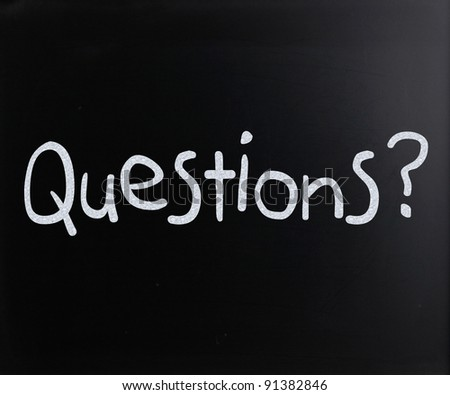 """Question"" handwritten with white chalk on a blackboard - stock photo"