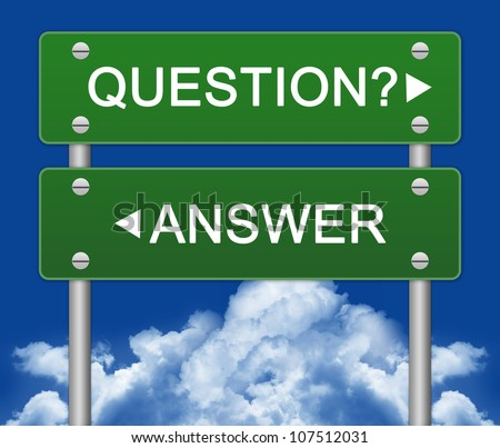 Question or Answer Street Sign With Blue Sky Background - stock photo