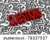 """QUESTIONS"" 3D text surrounded by question marks. Part of a series. - stock photo"