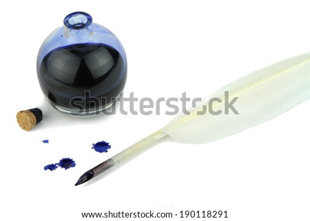 Quill pen with ink blots and glass ink bottle on white background - stock photo