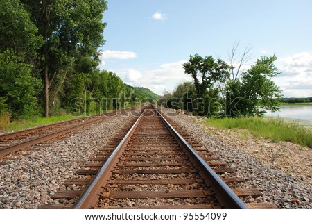 Railroad along the Mississippi river - stock photo