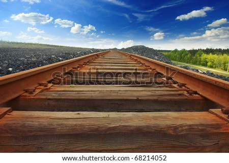 Railroad and blue sky - stock photo