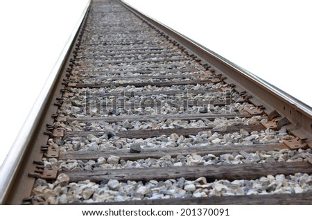 railroad track isolated on white background  - stock photo