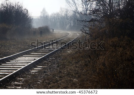rails in the fog