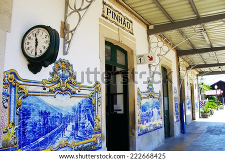 railway station of Pinhao, Douro Valley, Portugal  - stock photo